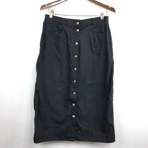 Susan Bristol Button-Front Midi Skirt